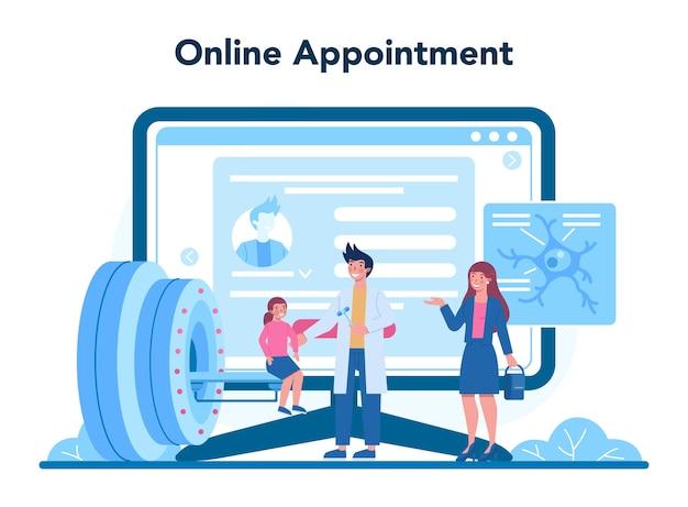 Ilustración de plataforma o servicio en línea de neurólogo