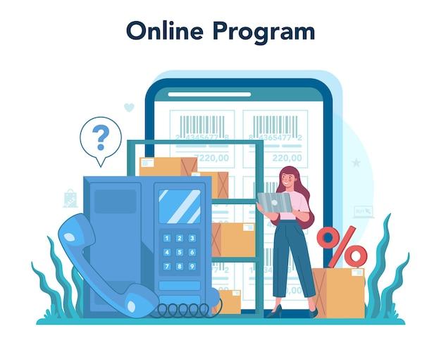 Ilustración de plataforma o servicio en línea del vendedor