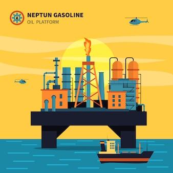 Ilustración de la plataforma petrolera