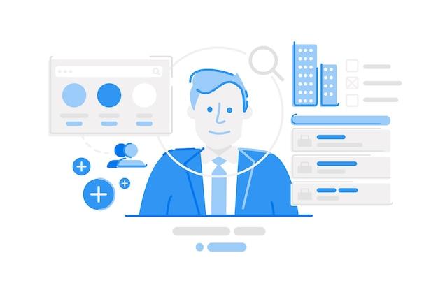 Ilustración de plataforma de redes sociales linkedin