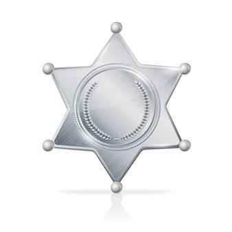 Ilustración plateada insignia de sheriff estrella vacía