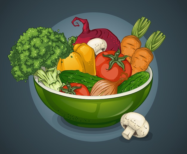 Ilustración de plato de verduras orgánicas