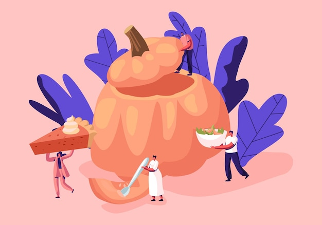 Ilustración de platos de calabaza con pequeños personajes masculinos y femeninos alrededor de una enorme calabaza hueca con comida tradicional de acción de gracias
