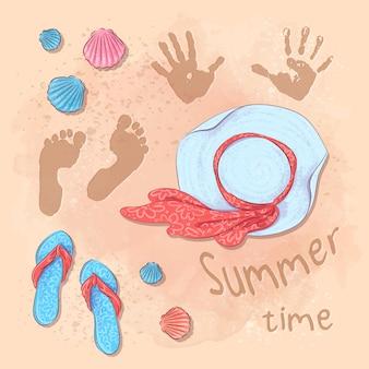 Ilustración de playa fiesta de verano con un sombrero y pizarras en la arena junto al mar. estilo de dibujo a mano.