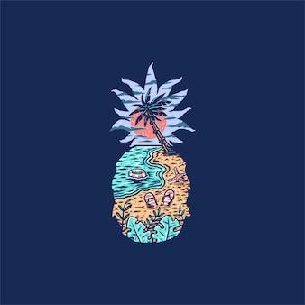 Ilustración de la playa de piña, estilo de línea dibujada a mano con color digital