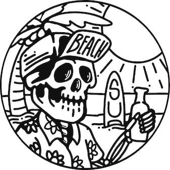 Ilustración con playa de skeleteon