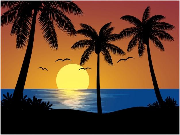 Ilustración de playa tropical con puesta de sol