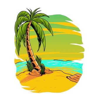Ilustración de playa de verano