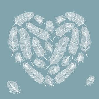 Ilustración de plumas en forma de corazón