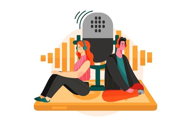 Ilustración de podcast móvil