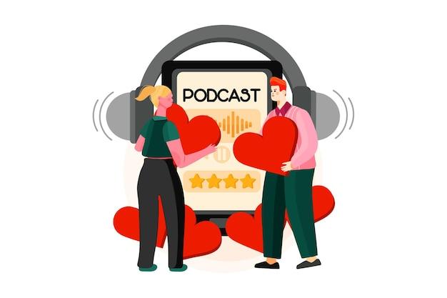 Ilustración de podcast de tendencia