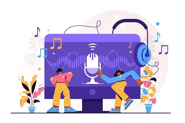 Ilustración de podcast