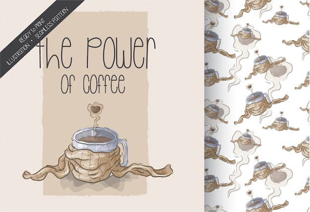 Ilustración del poder del café sin patrón