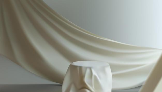 Ilustración de podio de cubierta de tela de seda blanca