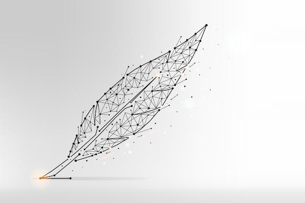 Ilustración poligonal abstracta de plumas