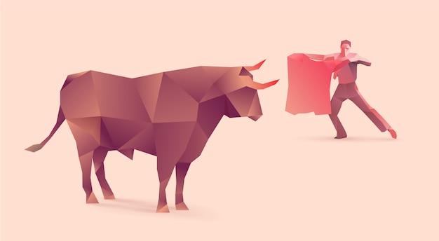 Ilustración poligonal de corridas de toros