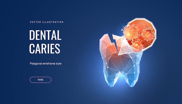 Ilustración poligonal futurista de caries dental