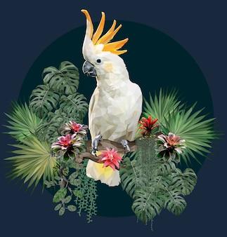 Ilustración poligonal pájaro cacatúa y plantas del amazonas.