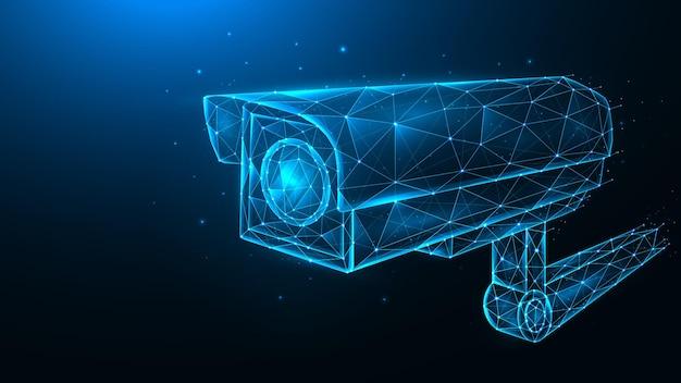 Ilustración poligonal de vector de cámara cctv, cámara de seguridad, sistema de videovigilancia.