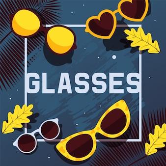 Ilustración de portada de catálogo de tienda de gafas de sol de moda