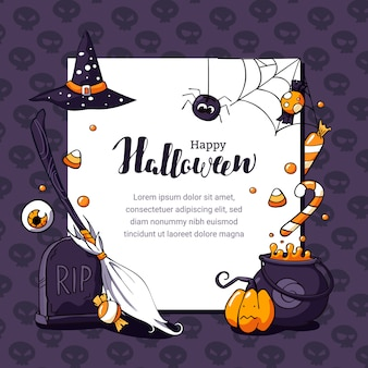 Ilustración de postal de halloween con tema aterrador y espacio para texto