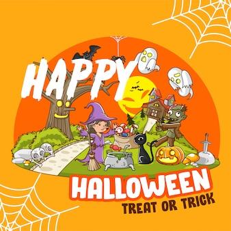 Ilustración de póster de halloween, bruja y zombie en casa embrujada -
