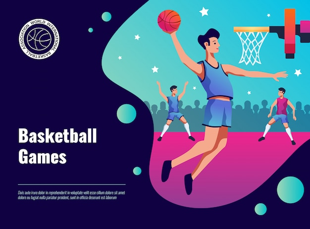 Ilustración de póster de juegos de baloncesto