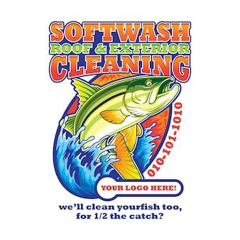 Ilustración de póster de limpieza exterior y techo softwash con diseño de pez róbalo