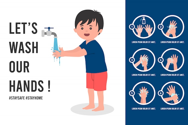 Ilustración de póster tutorial de lavado de manos