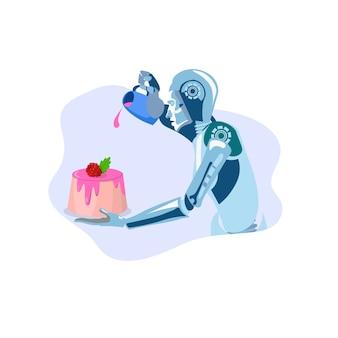 Ilustración de postre de cocina robot