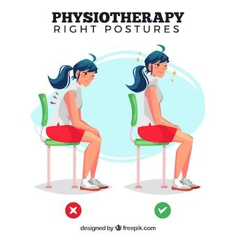 Ilustración de postura correcta e incorrecta para sentarse