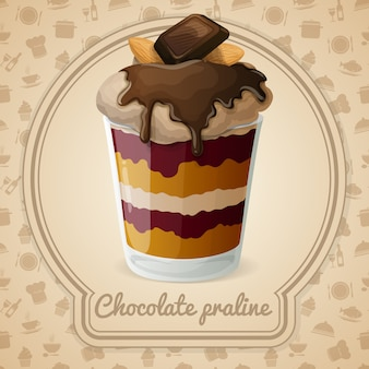 Ilustración de praliné de chocolate