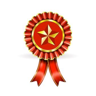 Ilustración premio etiqueta roja con estrella y vigas en blanco