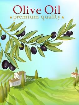 Ilustración premium de aceite de oliva para embalaje
