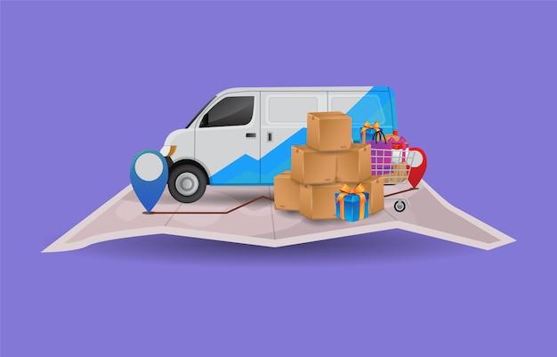 Ilustración premium de vector del paquete de entrega en un automóvil en los mapas con la ubicación de destino imprimir