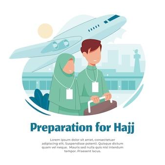 Ilustración de preparación para la peregrinación.
