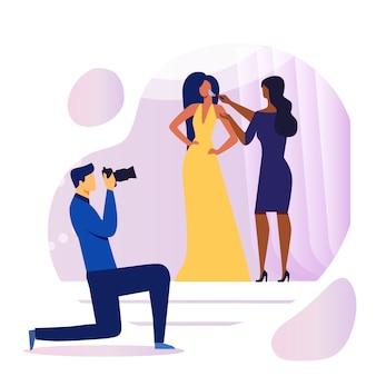 Ilustración de preparación de sesión de fotos