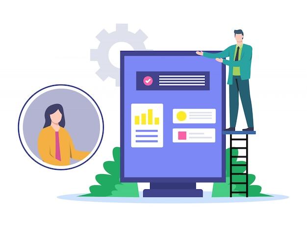 Ilustración de presentación con clientes con medios en línea.