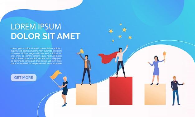 Ilustración de presentación de negocios azul