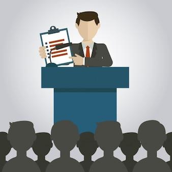 Ilustración de presentación de negocios plana