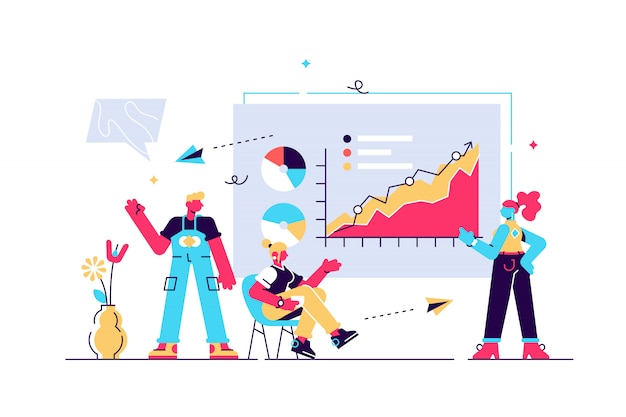 Ilustración de presentación publicación de infografías y discurso.