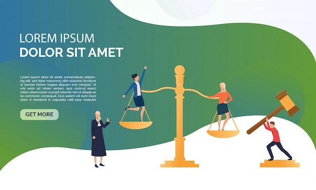 Ilustración de presentación de servicio de juicio