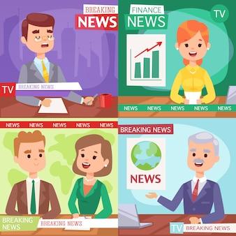 Ilustración presentador de noticias de última hora.