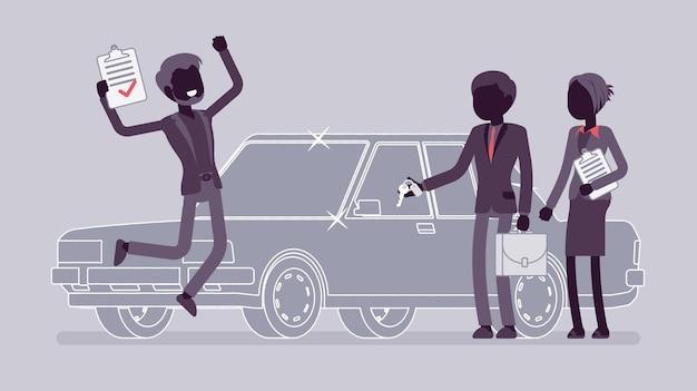Ilustración de préstamo de coche aprobado
