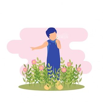 Ilustración primavera chico lindo niño jugando flor y mariposa en fiesta en el jardín