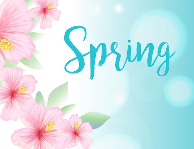 Ilustración de primavera con cielo azul y flores de hibisco
