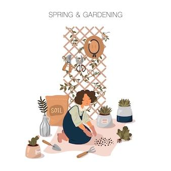 Ilustración de primavera y jardinería en estilo de dibujos animados plana. chica cuidando las plantas. cartel de jardín de su casa.