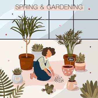 Ilustración de primavera y jardinería en estilo de dibujos animados plana. chica cuidando las plantas. hogar & jardín