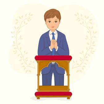 Ilustración de primera comunión