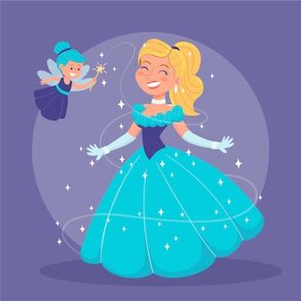 Ilustración de princesa feliz cenicienta